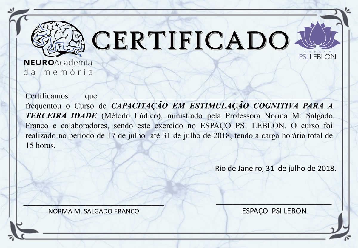 Certificado Curso de Capacitação para Estimulação Cognitiva